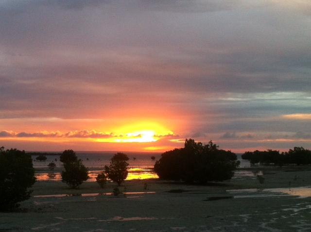 Sunset over the mud flats.
